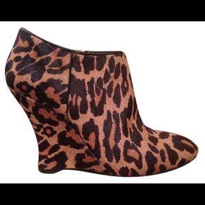 Nine west leopard print wedge heel boots
